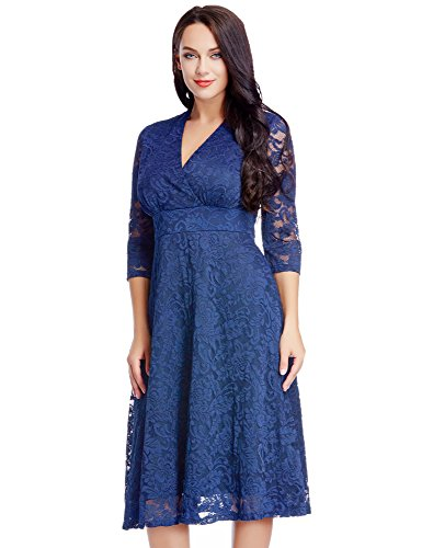 953f3ff6fdd LookbookStore Women s Plus Size Royal Blue Lace Bridal Formal Skater ...