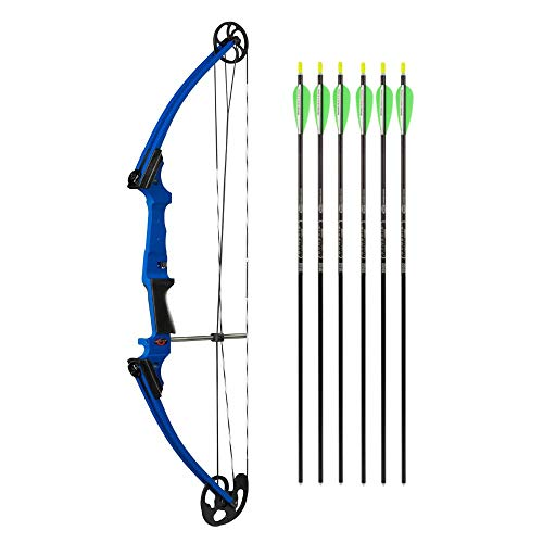Genesis Blue Bows - Genesis Bows Original Bow with Adjustable Draw Weight for Beginner Archers of All Ages, and Six Easton NASP Arrows Kit (Blue, Right Hand)