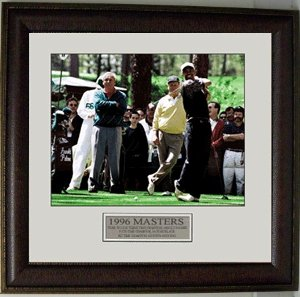 14 Deluxe Framed Collectible - Arnold Palmer unsigned 11X14 Photo 96 Masters Leather Framed - Golf Plaques and Collages