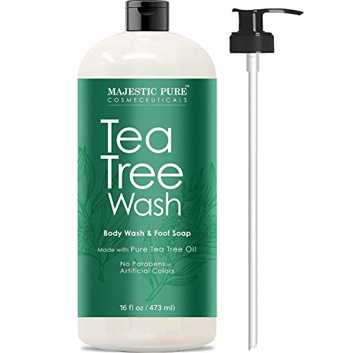 Tea Tree Body Wash, Helps Nail Fungus, Athletes Foot, Ringworms, Jock Itch, Acne, Eczema & Body Odor, Soothes Itching & Promotes Healthy Feet, Skin and Nails, Naturally Scented, 16 fl. oz. (Best Body Oil For Eczema)