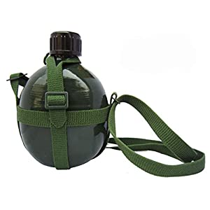 Phoenix Outdoor 1.2L Full Military Aluminium Chinese PLA Type 87 Water Canteen With Reinforced Nylon Belt Holster-Portable Hiking And Camping Outdoor Water Bottles