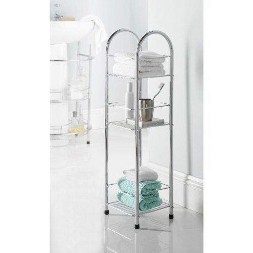 Chrome 3 Tier Bathroom Free Standing Shower Caddy: Amazon.co.uk ...