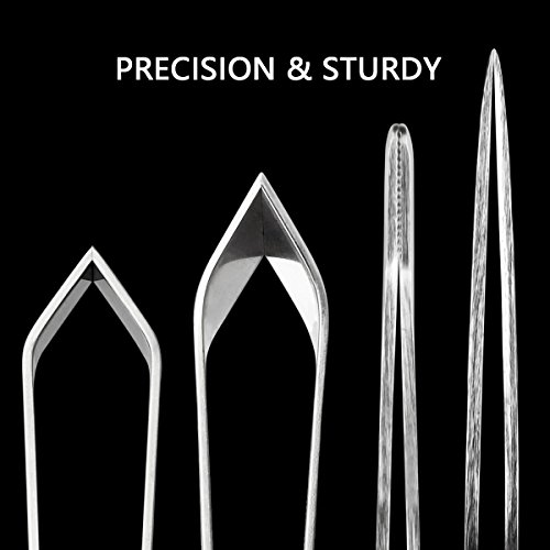 4 Pieces Fish Bone Tweezers Set, Two 4.6'' Stainless Steel Tweezer and Two 5.5'' Tongs for Cooking Food Design styling. by iziusy (Image #2)