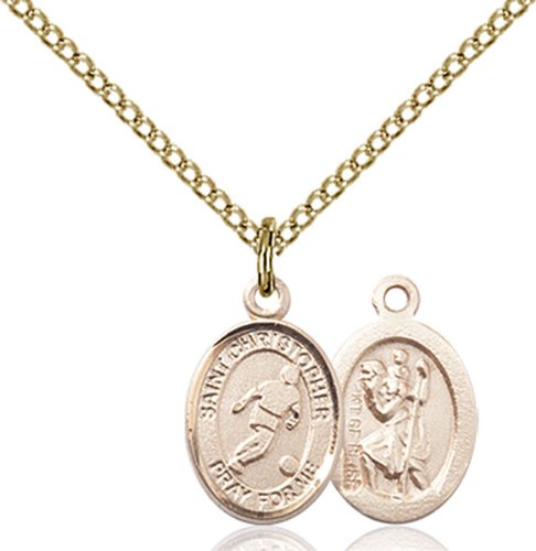 Foot Pendant 14kt Gold Jewelry (VERY SMALL CHILDRENS JEWELRY / 14kt Gold Filled St. Christopher/Soccer Pendant / GF Lite Curb Chain /)