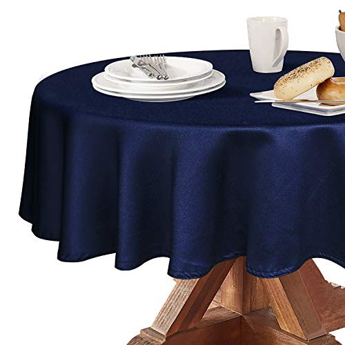 - Obstal Round Table Cloth, Oil-Proof Spill-Proof and Water Resistance Microfiber Tablecloth, Decorative Fabric Circular Table Cover for Outdoor and Indoor Use (Navy Blue, 60 Inch Diameter)