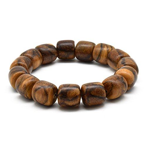 Zen Dear Unisex Natural Qinan Agarwood Prayer Beads Tibetan Buddhism Mala Bracelet Necklace Beads (15mm Cylinder x 15 Beads)