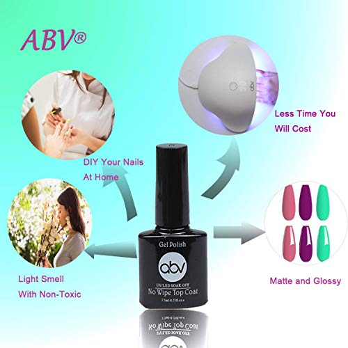 ABV Gel Nail Polish Kit with UV Light 12 Colors Nail Dryer Nail Art Starter Kit Soak Off Nude Gray Nail Polish with 48W UV LED Lamp Home DIY Manicure Tools