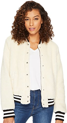 Levi's Women's Plush Sherpa Bomber Jacket with Contrast Trim, Cream, Extra Large ()