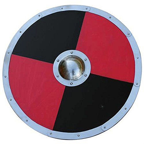 Wood And Steel Reinforced Black And Red Medieval Viking Barbarian Combat Shield LARP Costume (Barbarian Combat Shield)