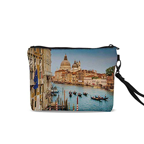 Wanderlust Decor Makeup Brush Bag,Sunset in Venice Gondolas on Canal Grande with Basilica di Santa Maria Della Salute For Women Girl,9