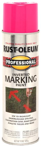 Rust-Oleum 255641 Professional Inverted Marking Spray Paint, 15 oz, Fluorescent Pink
