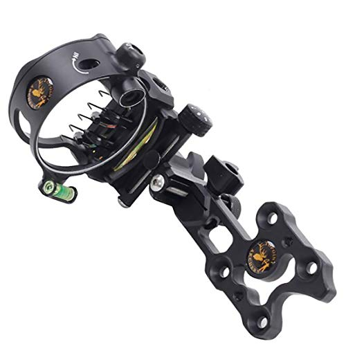 HRCHCG 5 Pins Compound Bow Sight 0.019 Optical Fiber Retinal Sight CNC Aluminum Horizontal Vertical Adjustment Bow Sight Shooting - Sight Aluminum Fiber Bow