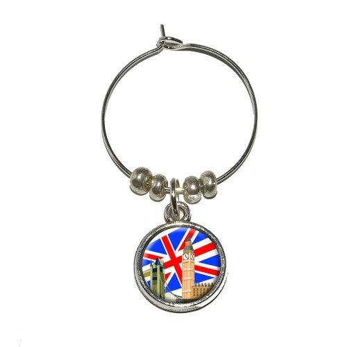London - England UK Big Ben London Bridge Phone Box Wine Glass Charm Drink Stem Marker Ring