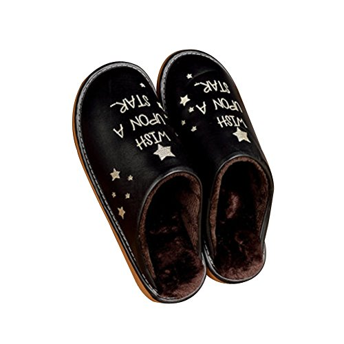 Bottom Comfort Non Ladies Slippers PVC Rubber Slippers Men Black TELLW Warm Leather Lint Slip Home Floor Wooden Indoor Winter w8SqvaOq