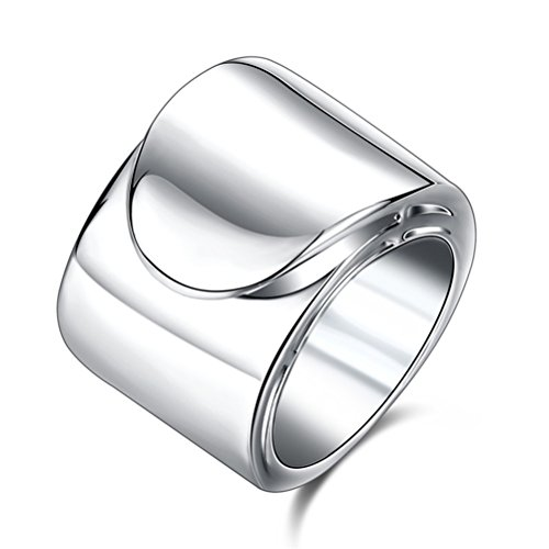 TEMEGO Wide Wrap Thumb Rings for Women,10k Silver Plain Cool Fashion Knuckle Finger Ring