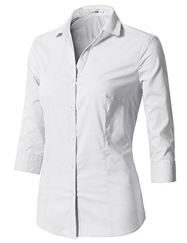 CLOVERY Women's 3/4 Sleeve Cotton Spandex Button Down Shirt White L