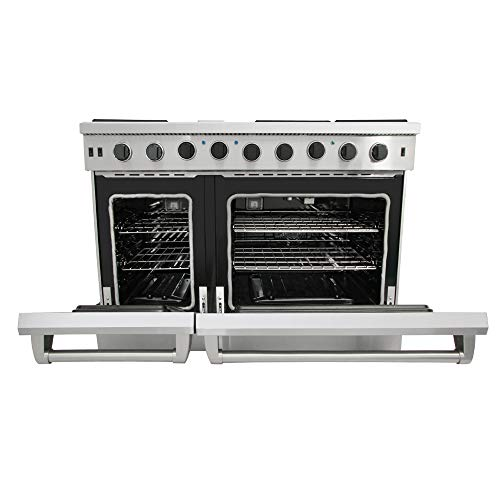Thor Kitchen 48 inch Freestanding Pro-Style Double Oven Professional Gas Range with 6 Burners Cooktop, 1 Griddle and 6.8 cu.ft Oven- Commercial Convections Fan- in Stainless Steel- LRG4801U