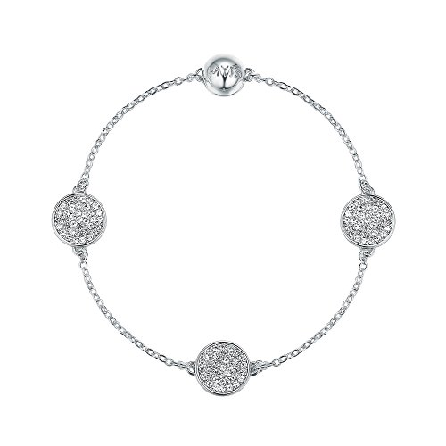 My Jewellery Story MYJS Remix Collection Pave Disc with Swarovski Crystals Rhodium Plated