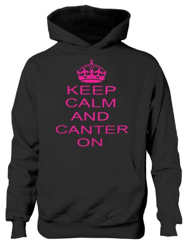 Keep Calm and Canter On/Horse Riding Girls/ Hoodie In Pink 12-13 Black