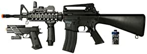 Soft Air M4 AEG Electric Powered Rifle/Spring Powered Pistol Airsoft Field Duty Kit (Black)