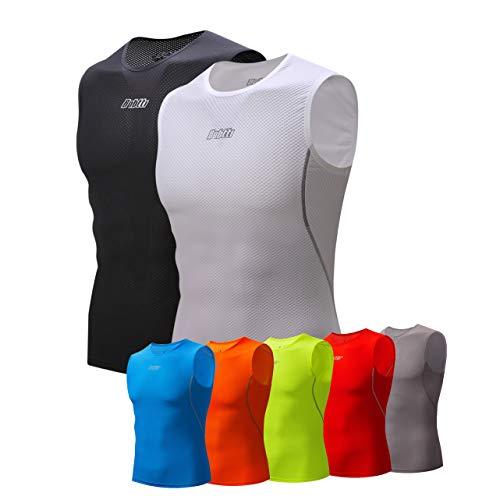 Bpbtti Men's Cycling Base Layer, Undershirt, Bike Biking Sleeveless Shirt 2 Pack – Moisture Wicking and Comfortable (X-Large - Chest 42-44