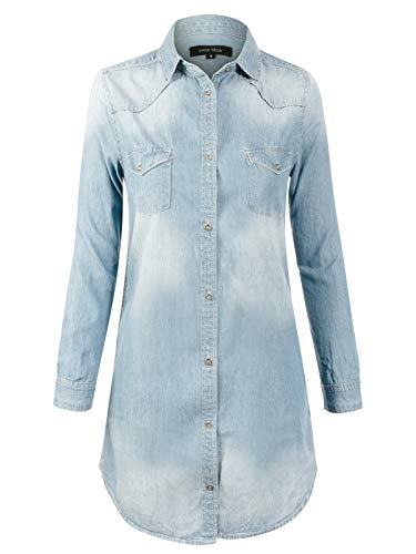 Design by Olivia Women's Vintage Long Sleeve Button Down Chambray Denim Shirt Tunic Dress (S-3XL) Light Denim S