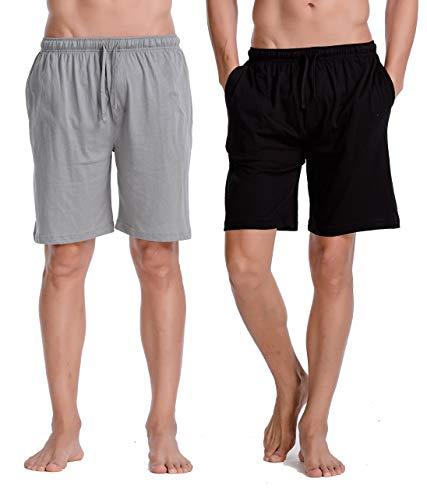CYZ Men's Comfort Cotton Jersey Shorts with Pockets-BlackGreyMelange2PK-XL