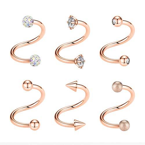 Kangyijia 16G Spiral Cartilage Earrings Lip Tragus Eyebrow Hoop Helix Twisted Barbell Surgical Steel Studs Earrings Set 8MM 6Pcs