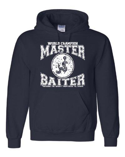 (X-Large Navy Blue Adult World Champion Master Baiter Fishing Sweatshirt Hoodie)