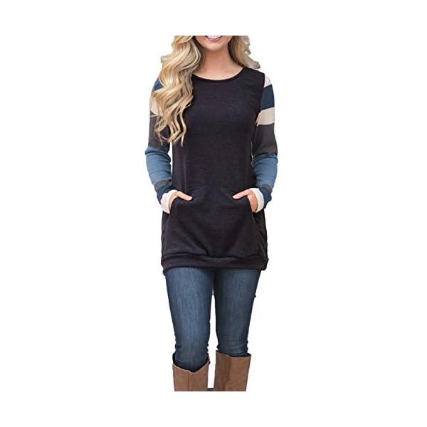 e758b572b4a8a BLENCOT Women's Color Block Long Sleeve Tunic Sweatshirt Tops with Kangaroo  Pocket-Black ...