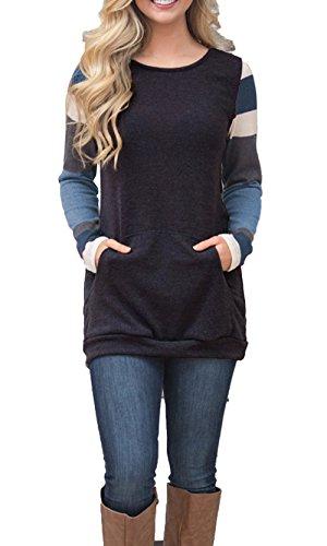 9f4036370 BLENCOT Women's Color Block Long Sleeve Tunic Sweatshirt Tops with Kangaroo  Pocket-Black ...