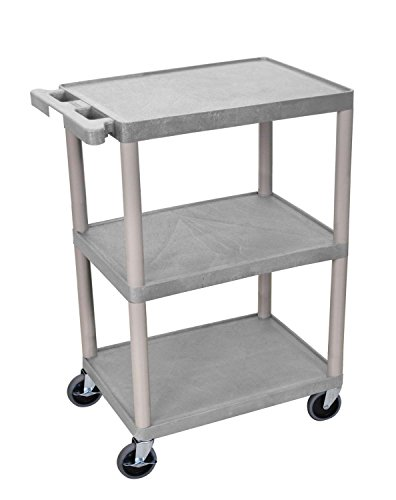 Luxor Multipurpose Storage Utility Cart 3 Shelves Structural Foam Plastic - (Gray Utility Shelf)