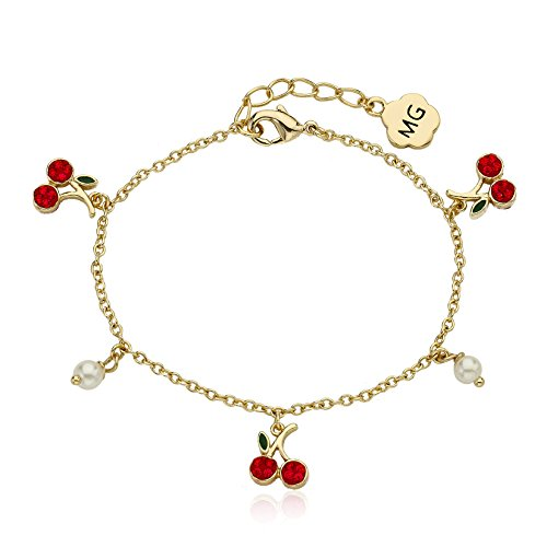 (Molly Glitz Cherry Delight 14k Gold-Plated Crystal Cherries & Fresh Water Pearl Charm Bracelet 5.5