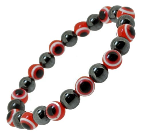 Magnetic Simulated Hematite Bead Evil Eye Protection Bracelet