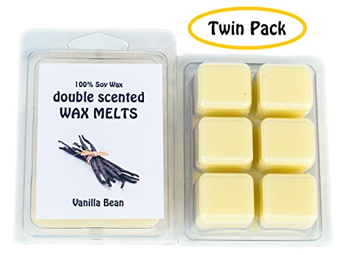 Vanilla Bean DOUBLE SCENTED SOY WAX MELTS - WAX TARTS (Twin Pack-6.5oz). The sweet, sugary aroma of fresh vanilla beans. Made in USA