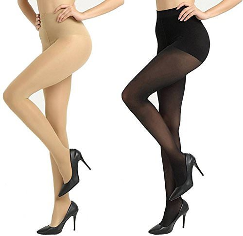 2e76a5744 Krystle Girl Pack of 2 High Waist Stockings Super Fine Fiber Excellent  Stretch Sheer Tights Long Comfort Super Soft Pantyhose Black and Skin   Amazon.in  ...