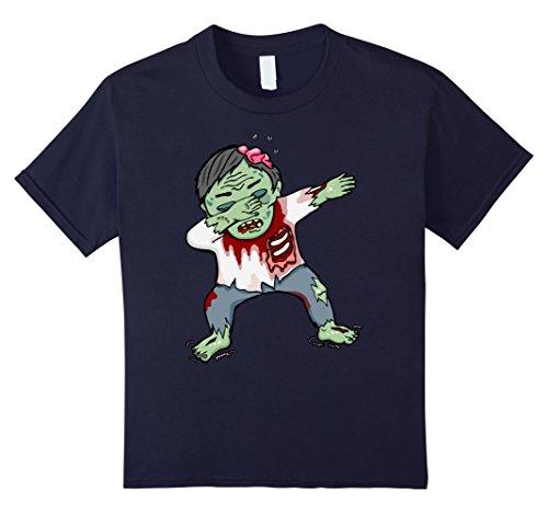 [Kids Dabbing Zombie Creepy Halloween Costume Dark Shirt 12 Navy] (Apocalypse Theme Party Costume Ideas)