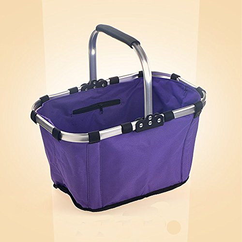 MYLIFEUNIT Collapsible Picnic Basket Household Vegetables Food Shopping Bag (purple) For Sale