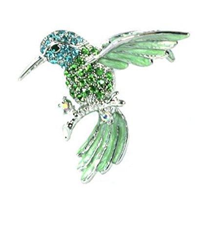 Green Sparkling Crystals Humming Bird Pin Brooch