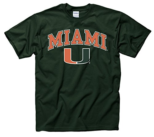 (Campus Colors Miami Hurricanes Adult Arch & Logo Gameday T-Shirt - Green, Large )