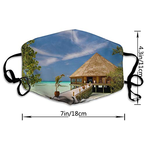 WEGF Sunshine Beach Coast Sea Palm Trees Cover Anti Dust Respirator Distributed Great for Virus Protection and Personal Health£¬Mouth Masks