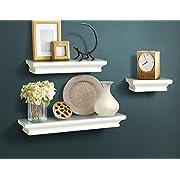 AHDECOR Floating Shelves Ledge Shelf White (4 Inches Deep, Set of 3 pcs)