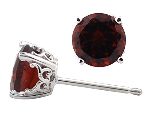 Solid 14k White Gold Red Garnet Stud Earrings (6mm, 1.80 cttw) (White Garnet Gold Earrings)