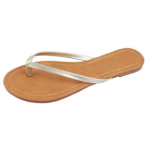 Guilty Heart - Womens Classic Beach Thong Flat Flip Flop Sandal Wedges-Sandals, Cham Pat, 6.5 B(M) US ()