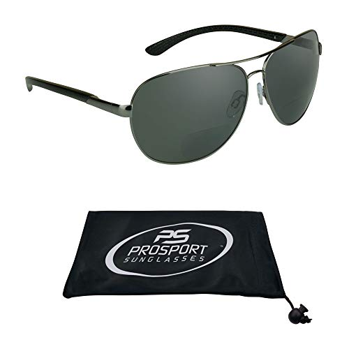 Aviator Polarized Bifocal Sunglasses for Men Women Unisex. Readers with 1.50, 2.00, 2.50 and 3.00 - Frame Light Grey Shaded Lenses