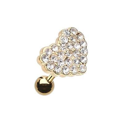 Golden Multi-Sprinkle Dot Heart Multi-Gem Cartilage Tragus Earring