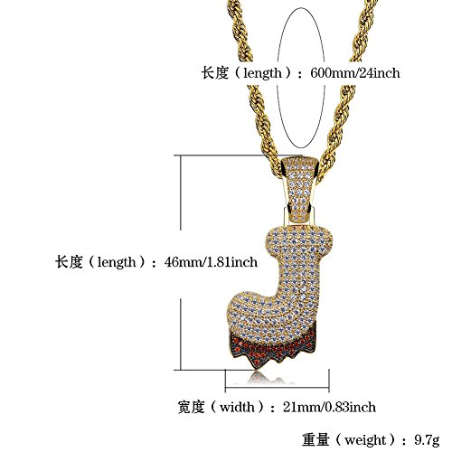 HECHUANG Micropave Simulated Diamond Iced Out Bling Custom Bubble Letters Dripping Initial Pendant with Rope Chain (J Gold, 24) by HECHUANG (Image #2)