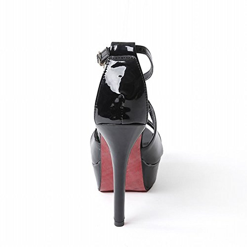 Mee Shoes Damen Stiletto Plateau open toe Sandalen Schwarz