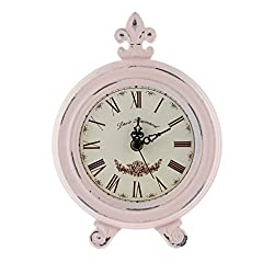 MagiDeal Simple Life Vintage Wood Clock European Style Table Clock Home Decor 3 Colors Available - Pink
