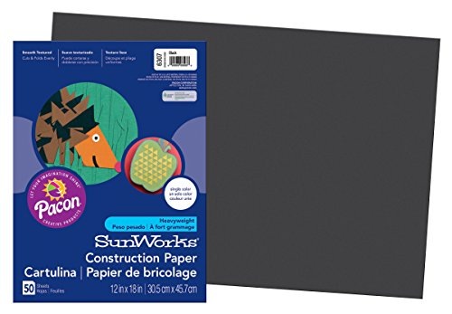 SunWorks PAC6307 Construction Paper, 12-Inches by 18-Inches, 50-Count, Black (6307)